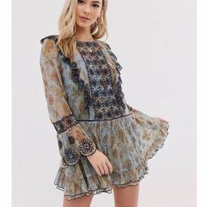 FREE PEOPLE Country Roads Bell Sleeve Mini Dress